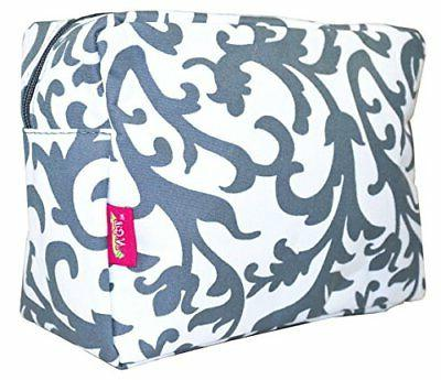N. Gil Large Travel Cosmetic Pouch Bag Damask Grey