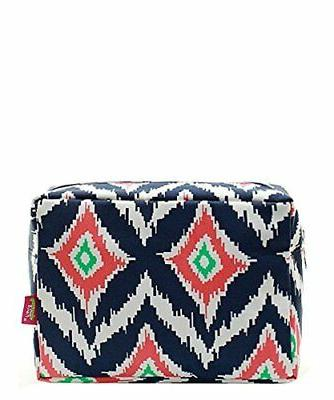 N. Gil Large Travel Cosmetic Pouch Bag IKAT Navy Blue