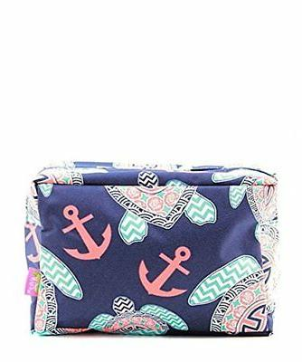 N. Gil Large Travel Cosmetic Pouch Bag Sea Turtle Navy Blue