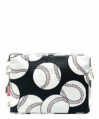 N. Gil Large Travel Cosmetic Pouch Bag Baseball Black