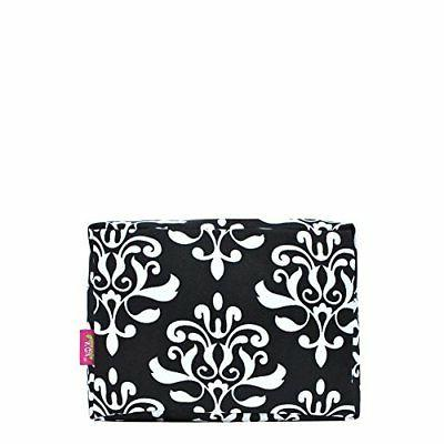 N. Gil Large Travel Cosmetic Pouch Bag Bloom Damask Black