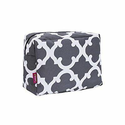 N. Gil Large Travel Cosmetic Pouch Bag Geo Grey