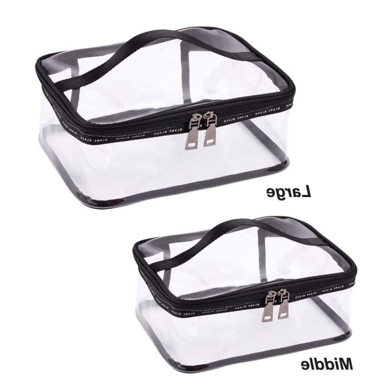 ABDB-Black transparent Travel <font><b>Cosmetic</b></font> <font><b>Case</b></font> Organizer with Handle