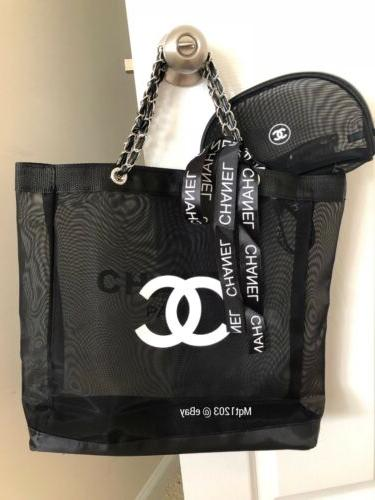 NEW Gift Mesh Tote And Makeup Silver Hardware.