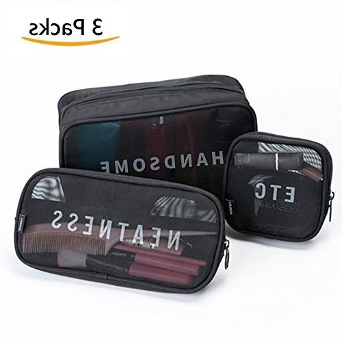 8f40151b0c21 3 Packs Clear Cosmetic Makeup Bag Carry On