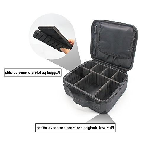 Portable Train Case Cosmetic Bag Pcs Adjustable for Cosmetic Jewelry Accessories,Black