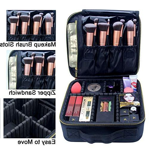 Makeup Case, Travel Cosmetic Bag Brushes Organizer Portable Travel with