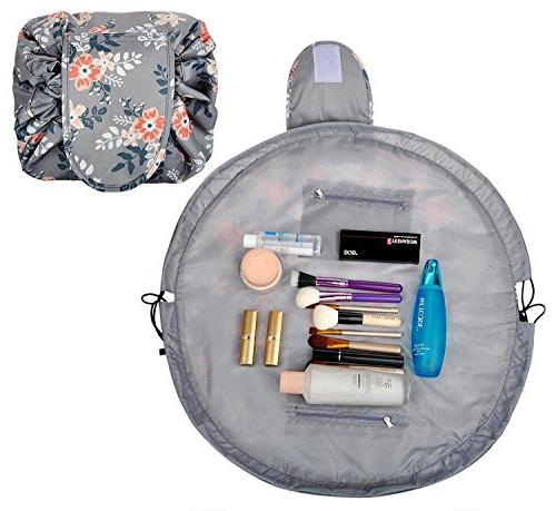 Portable Large Makeup magic Bag for Girls,Light Gray