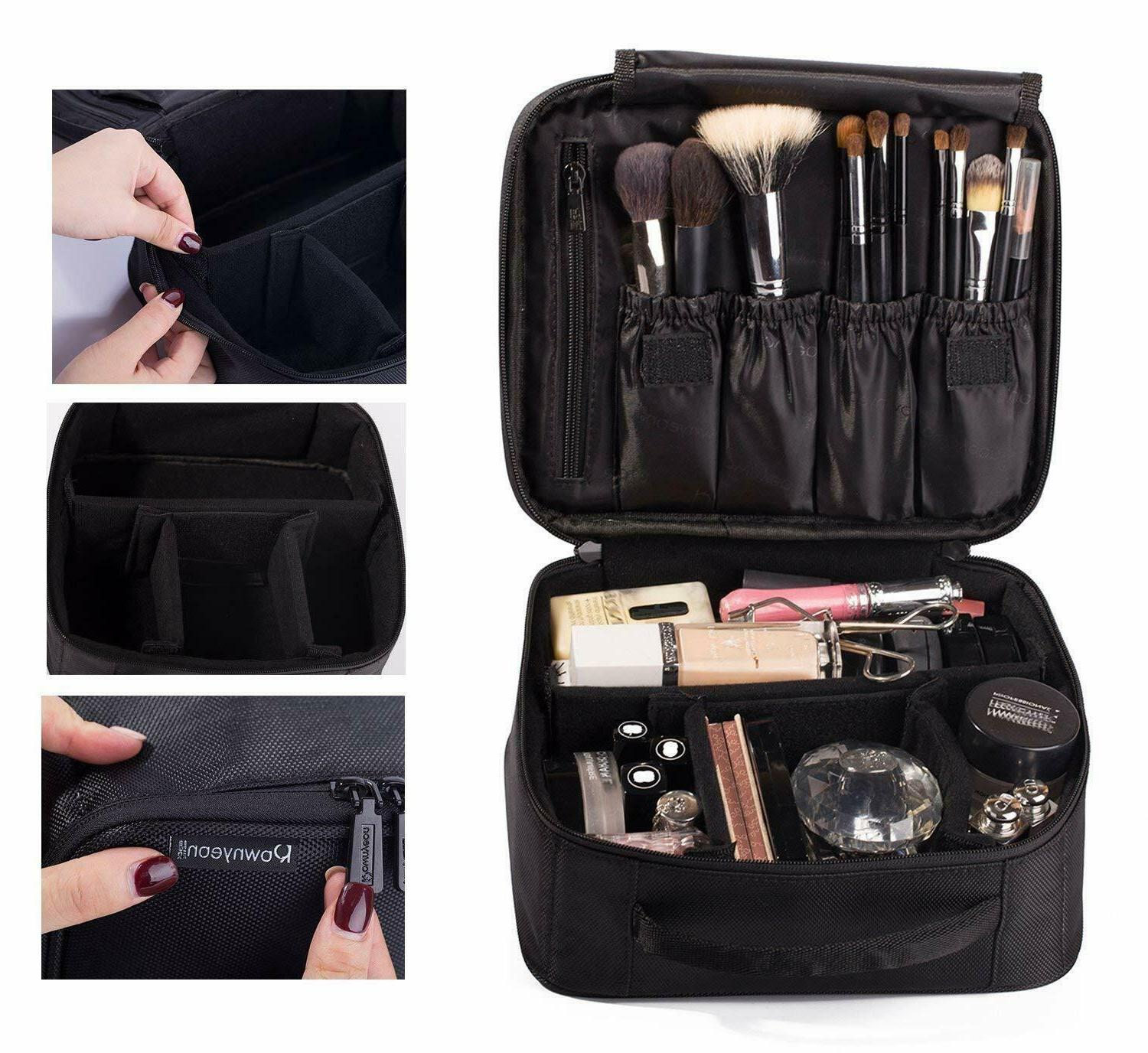 ROWNYEON Portable Travel Makeup Bag Mini Train Case 9.8''