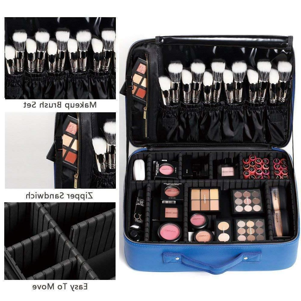 "ROWNYEON Professional Portable Makeup BLUE Case 14.1"" MEDIUM"