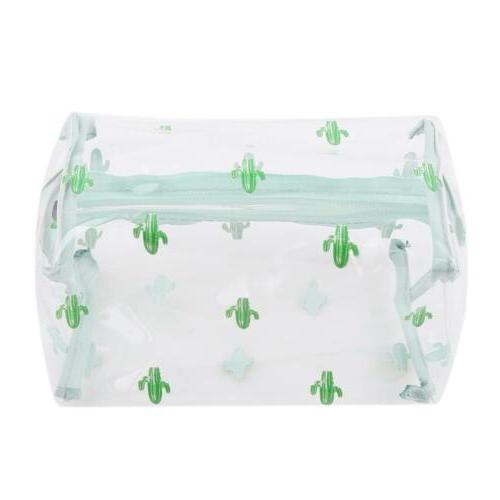 PVC Zipper Pouch Pencil Cosmetic Bag Clear Toiletry DD