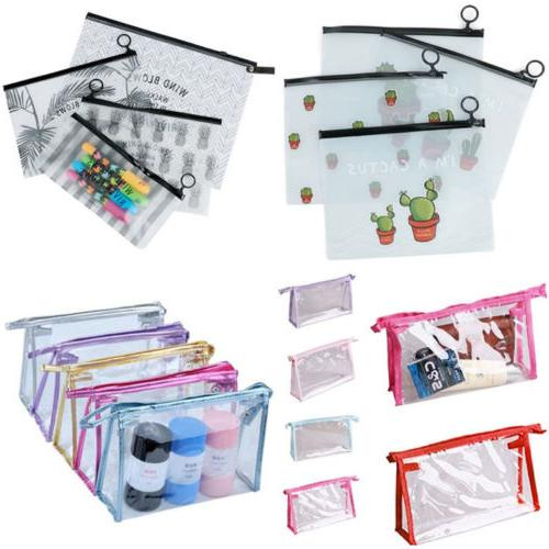 PVC Woman Zipper Pouch Cosmetic Bag Clear Toiletry Holder