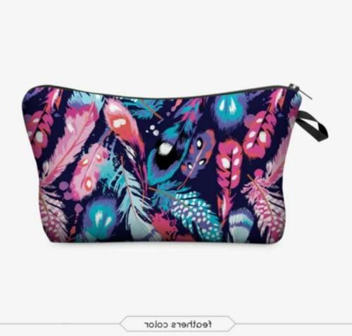small soft cosmetic make up bag feathers
