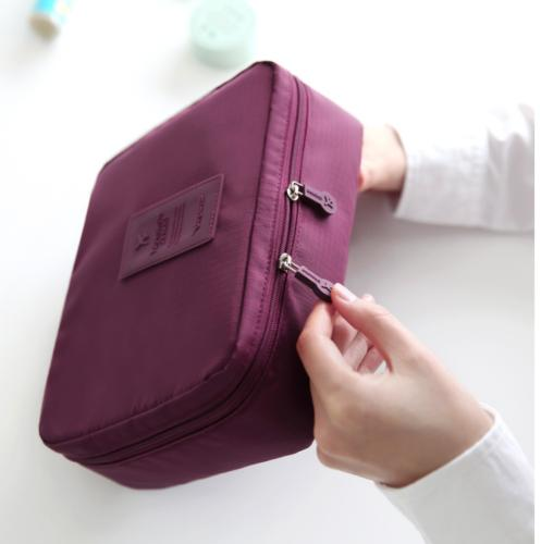 Small Women Purple Travel Makeup Cosmetic Bag Fabric Storage