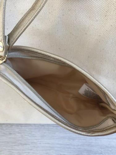 Ralph Tan beige canvas told trim large makeup purse shopper