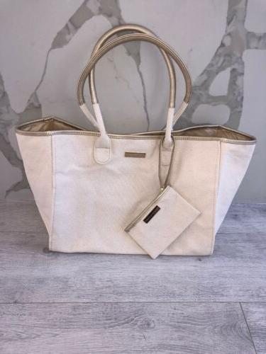 Ralph tote bag Tan canvas trim large purse shopper