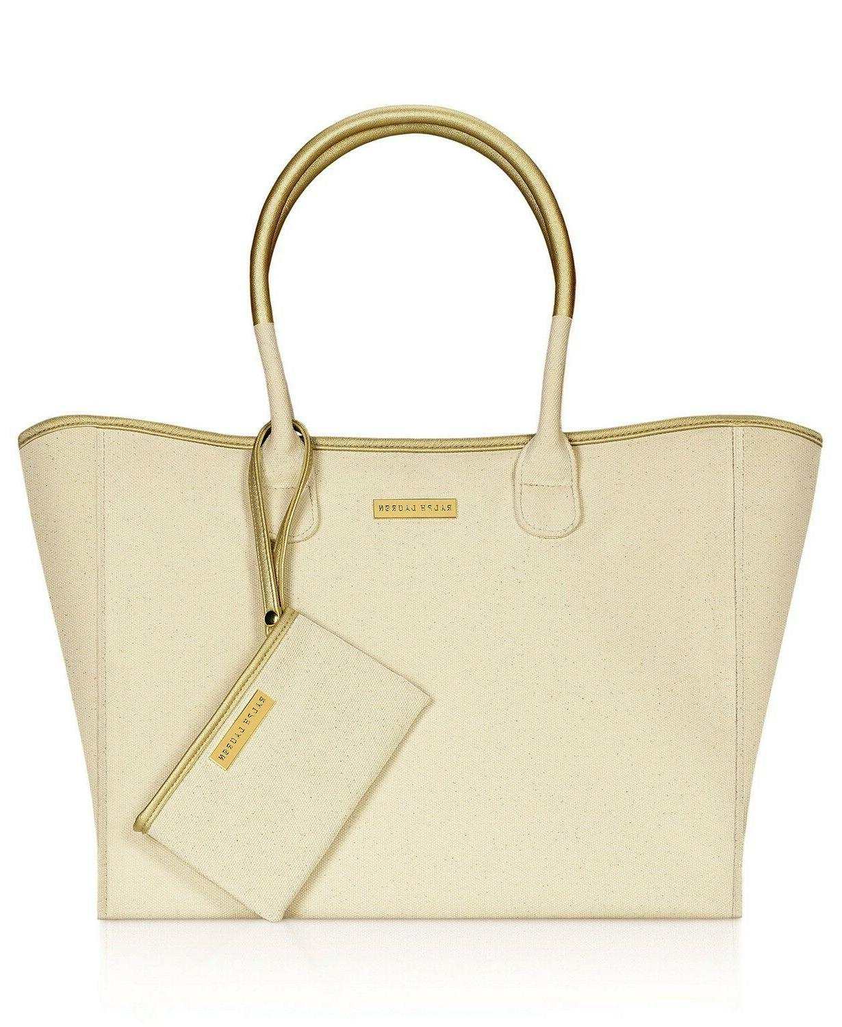 tan beige canvas told trim large tote