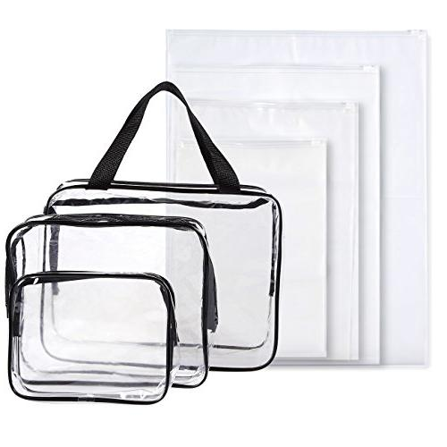 711672b5c8ca Set of 7 Travel Toiletry Bags - Clear