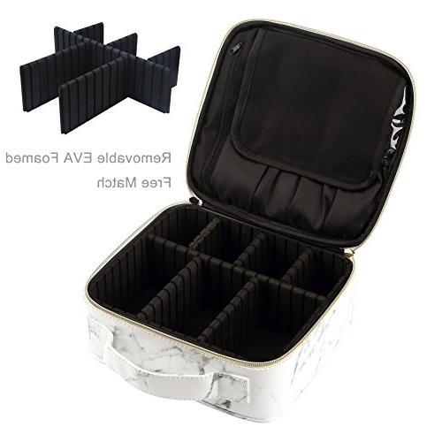 a43d3b2956dd HOYOFO Travel Makeup Train Case with Adjustable Dividers