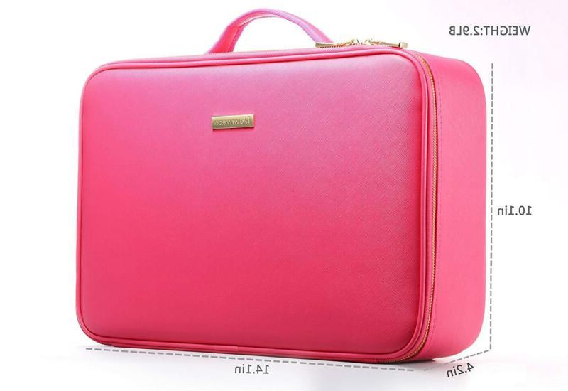 Train Cases Gifts For ROWNYEON Leather Makeup Bag EVA