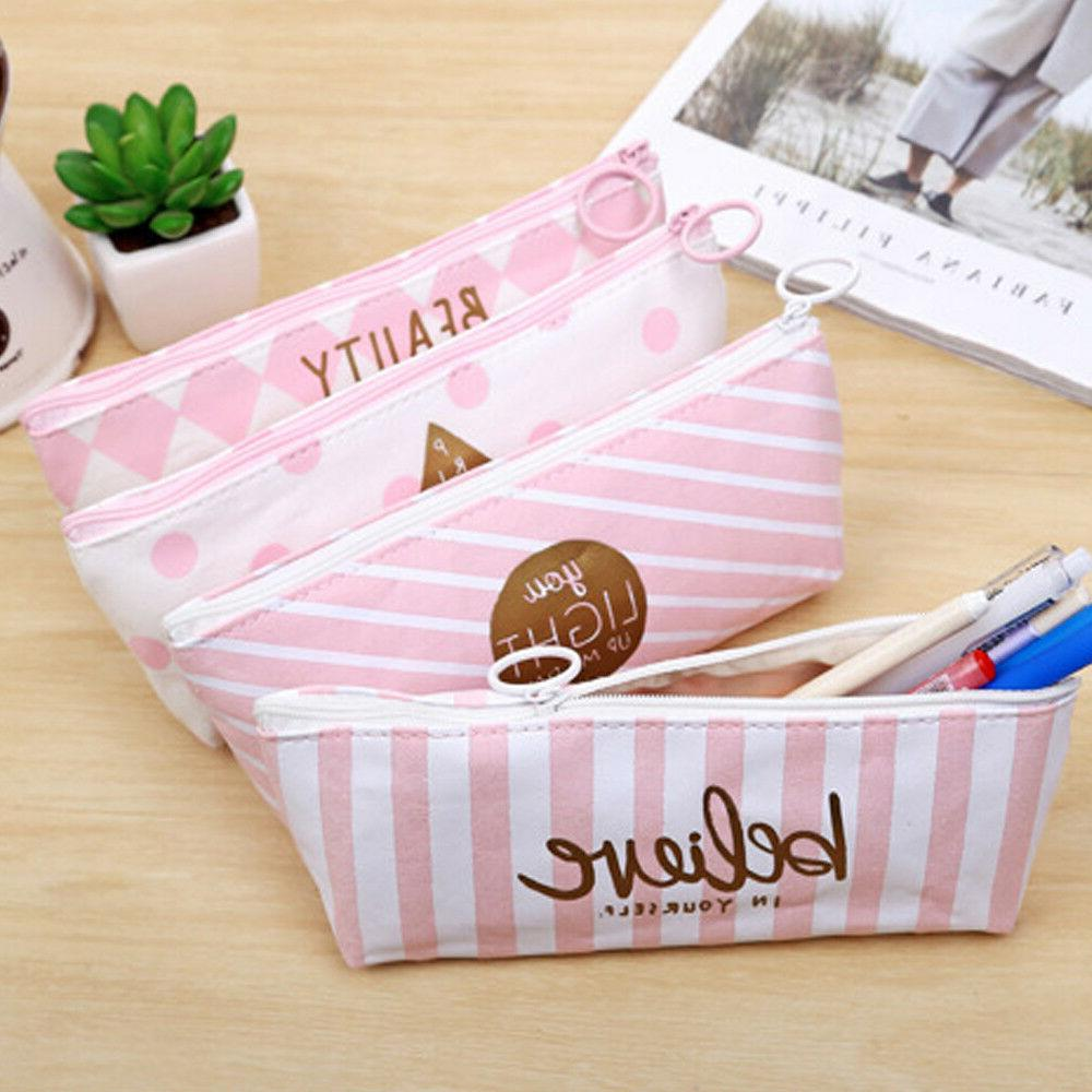 Canvas Pen Case Bag Students Holder Pouch