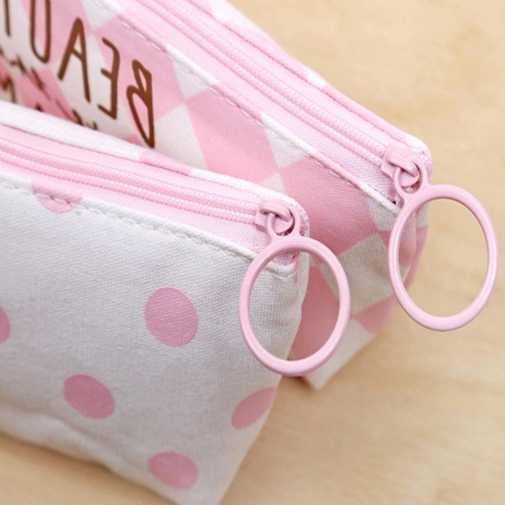 Canvas Cute Pen Pencil Case Makeup Students Stationery