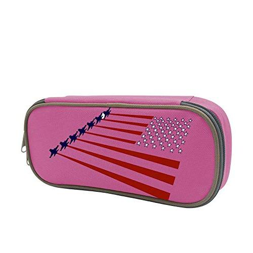 ea4518ead9a1 USA Indivisible Patriotic American Flag with Planes Pen Case Big Capacity  Pencil Bag Makeup Pouch Durable Students Stationery with Double Zipper Pink