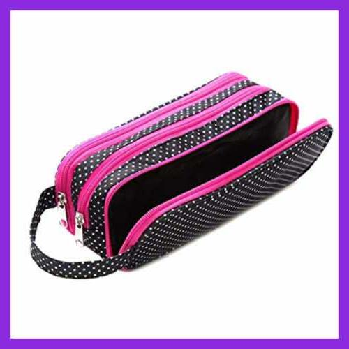 Versatile Travel Makeup LARGE Cosmetic Pouch Organizer POLKA Beauty