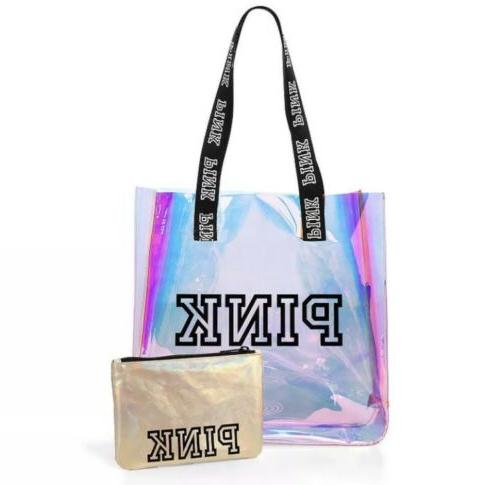 victorias secret pink clear iridescent tote