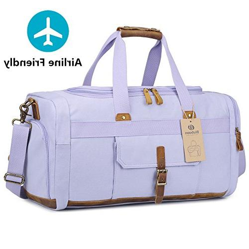 Weekender with Compartment Women Canvas Travel Tote Carry Bag