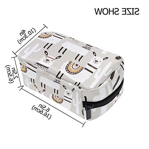 ALAZA White Bag Zipper Bag Portable Square Brushes