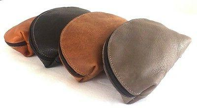 women handcrafted genuine leather soft cosmetic pouch