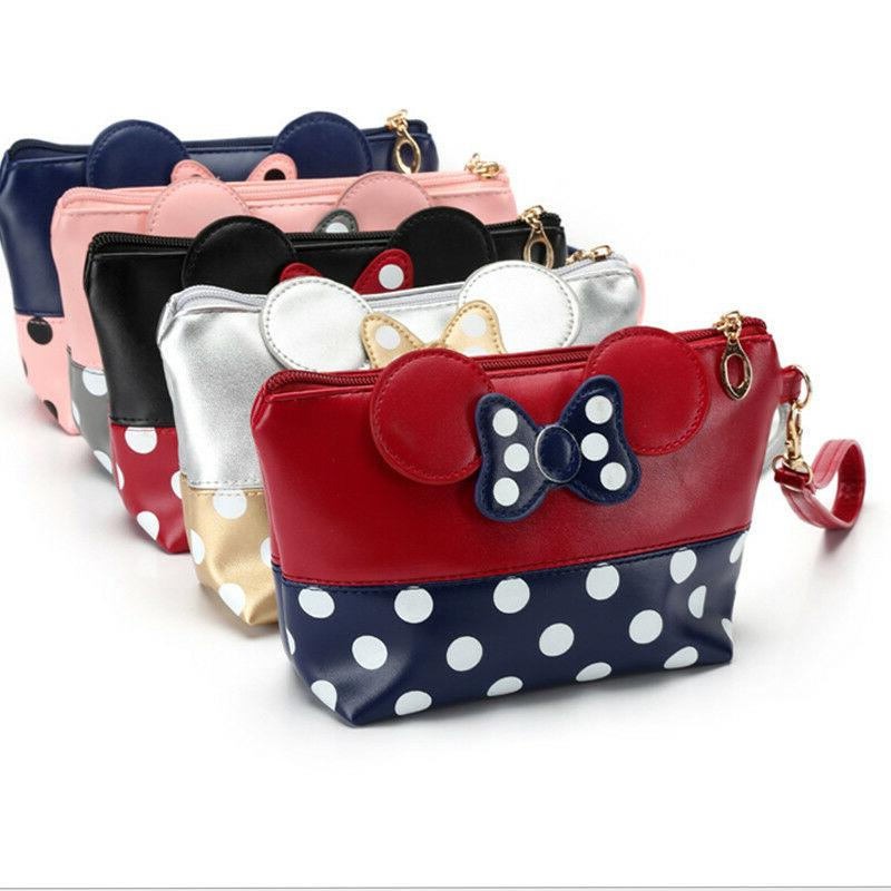 Cartoon Girls Kids Travel PU Leather Bow Cosmetic Coin Walle