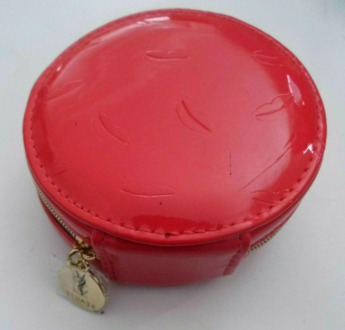 YSL Red Round Makeup Pouch