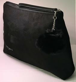 Lancome Black Cosmetic Makeup Clutch Bag W/ Removable Pom Po