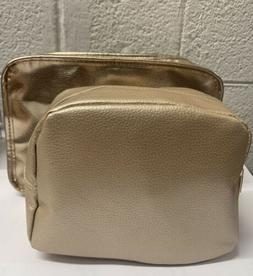 Lancome Golden Gold Large Cosmetic Accessory Pouch Bag & Sma