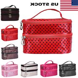 Large Polka Dot Makeup Bag Organizer Travel Cosmetic Box Toi