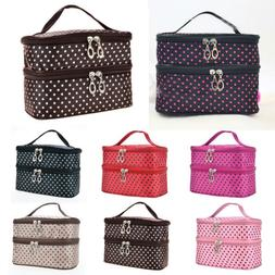 Large Polka Dot Makeup Bag Organizer Travel Cosmetic Boxes T