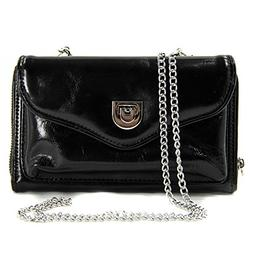 Ladies Leather Wristlet Crossbody Purse with Cellphone Pocke