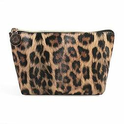 HOYOFO Leopard Cosmetic Bag Organizer Travel Portable Makeup