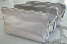 LANCOME light gold makeup bag cosmetic pouch travel toiletry