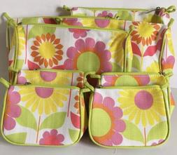 Lot 8 Clinique Floral Cosmetic Makeup Bags Multi-Color