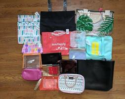 Lot of 18 Makeup Cosmetic Bags / Totes Lancome/Benefit/Clini
