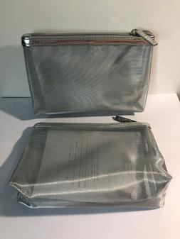 LOT OF 2 CLINIQUE SILVER RETICULAR MAKEUP BAG