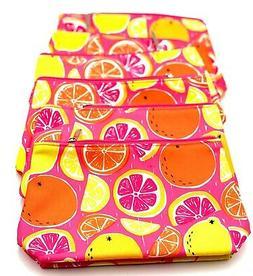 lot of 6 makeup bag with citrus