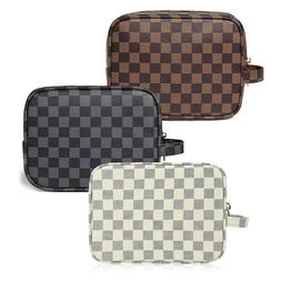 Luxury Checkered Make Up Bag | PU Vegan Leather Cosmetic toi