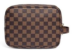 Luxury Checkered Make Up Bag PU Vegan Leather Cosmetic Toile