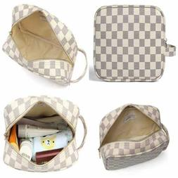 Daisy ROSE Luxury Checkered Make Up Bag PU Vegan Leather Cos
