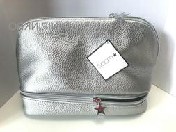 Macy's Silver Faux Leather Dual Zipper Makeup Cosmetic Bag