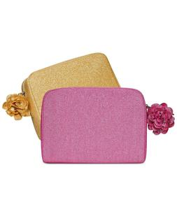 2X LANCOME PINK & GOLD MAKEUP COSMETIC BAG SHIMMER W/ FLOWER